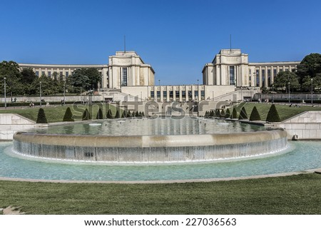 Trocadero is a area of Paris on the banks of Seine not far from famous Eiffel Tower. Hill of Trocadero is hill of Chaillot. On a hilltop in 1937 built a new palace - Palais de Chaillot. Paris, France. - stock photo