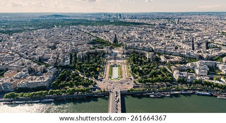 Trocadero panoramic aerial view and modern buildings in the background from the Eiffel Tower, Paris. - stock photo