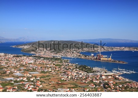 Trogir, Croatia - aerial view with Adriatic Sea. Dalmatia region. - stock photo