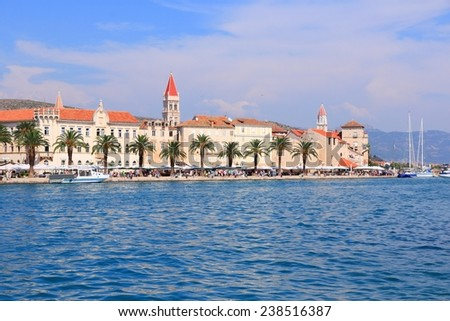 Trogir Old Town, as a UNESCO World Heritage Site, one of most visited places in Croatia. - stock photo