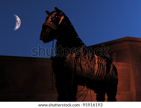 Trojan Horse at night - stock photo