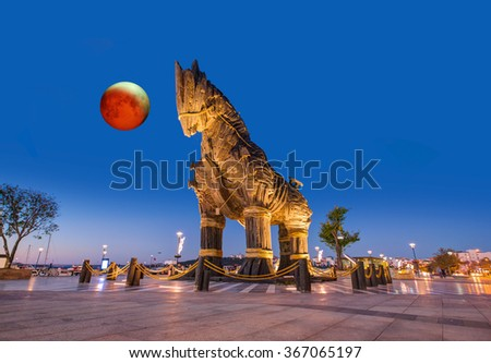 "Trojan horse, Canakkale Turkey against lunar eclipse""Elements of this image furnished by NASA "" - stock photo"