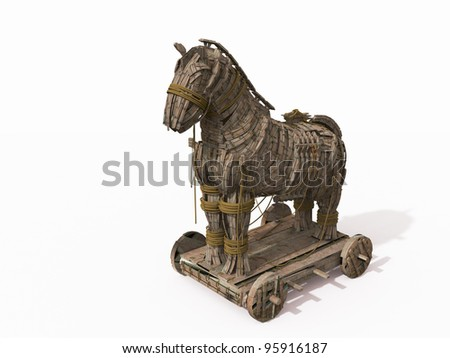 Trojan Horse on white - stock photo