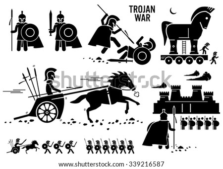 Trojan War Horse Greek Rome Warrior Troy Sparta Spartan Stick Figure Pictogram Icons - stock photo