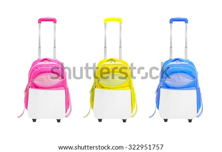 Trolley bags isolated. Trolley bags fashion. Trolley bags on white background. Bag wheels isolated. Fashion bag wheels isolated. Modern bag wheel. Colorful bag wheels on isolated. Tour bag. Travel bag - stock photo