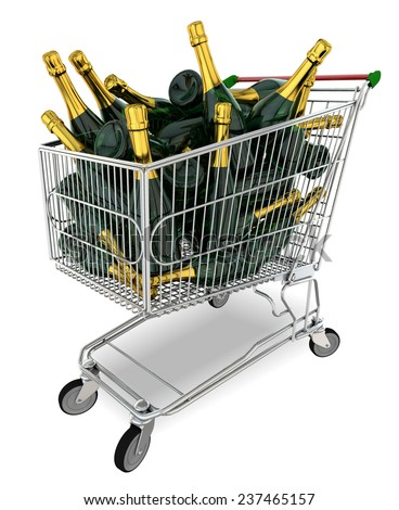 Trolley filled with champagne bottles against  white background - stock photo
