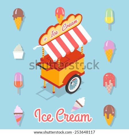 Trolley for sale of ice cream. Set of different kinds of ice cream on a stick and waffle cup - stock photo