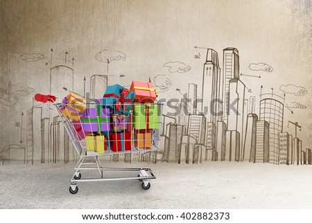 Trolley full of gifts against hand drawn city plan - stock photo