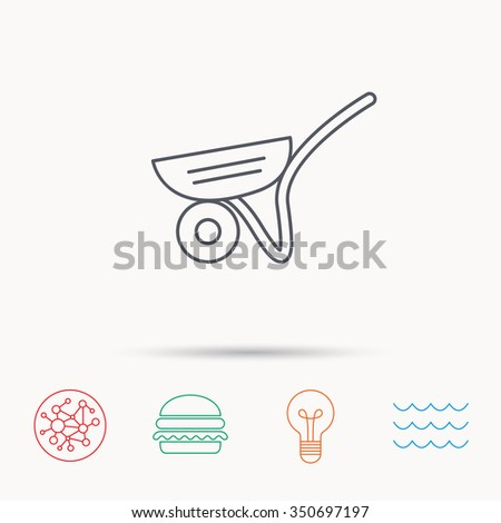 Trolley icon. Garden cart sign. Gardener equipment symbol. Global connect network, ocean wave and burger icons. Lightbulb lamp symbol. - stock photo