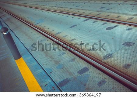 Trolley rails in Luis I bridge in Porto. - stock photo