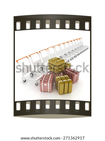 Trolleys for luggages at the airport and luggages. The film strip - stock photo