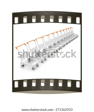 Trolleys for luggages at the airport. The film strip - stock photo