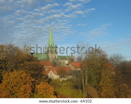 Trondheim Cathedral. - stock photo
