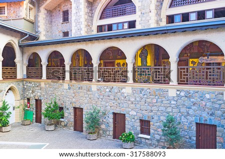 TROODOS, CYPRUS - AUGUST 2, 2014: The old orthodox Kykkos Monastery is one of the most popular landmarks of Cyprus, on August 2 in Troodos. - stock photo
