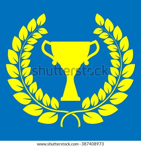 Trophy cup and laurel wreath. First place award or Champions cup icon. - stock photo