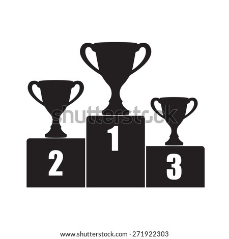 Trophy Cup on prize podium. First, second and third place award. Champions or winners Infographic elements. Black illustration on white background.  - stock photo