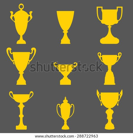 Trophy gold cup icons set for the winner, prize,award to be given to a person. - stock photo