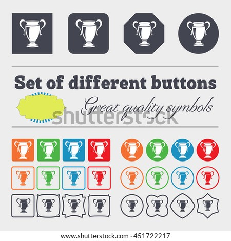 Trophy icon sign. Big set of colorful, diverse, high-quality buttons. illustration - stock photo