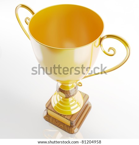 trophy in gold - stock photo