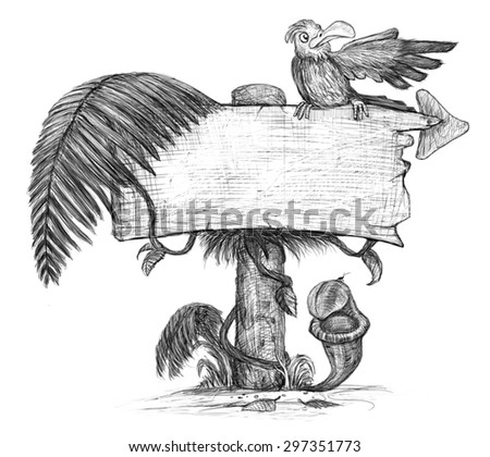 tropic board with parrot - stock photo