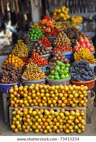 Tropic fruit on a market in Bali - stock photo