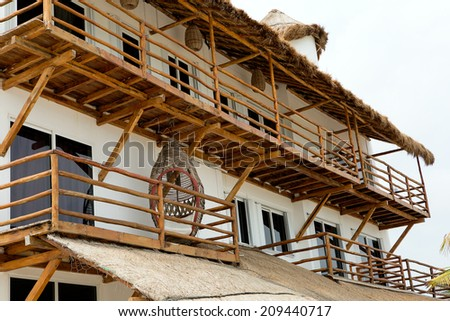 tropical architectural details on the Mayan Riviera - stock photo