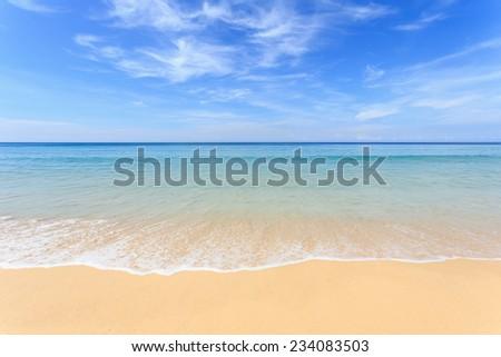 Tropical beach and blue sky in Phuket, Thailand - stock photo