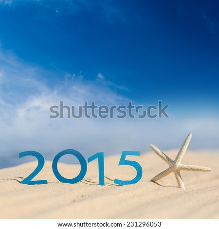 tropical beach and 2015 happy new year. Season vacation snd new year concept - stock photo