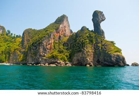 Tropical beach, Andaman Sea,Krabi Thailand - stock photo