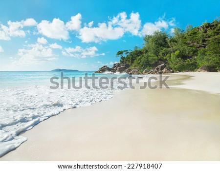 Tropical beach Anse Georgette panorama, island Praslin, Seychelles - vacation background - stock photo