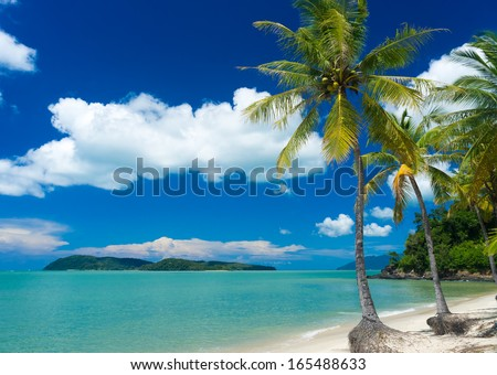 Tropical beach at Langkawi Island, Malaysia  - stock photo