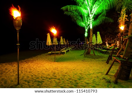 Tropical beach at night time. Long exposure shot. HDR processed. - stock photo