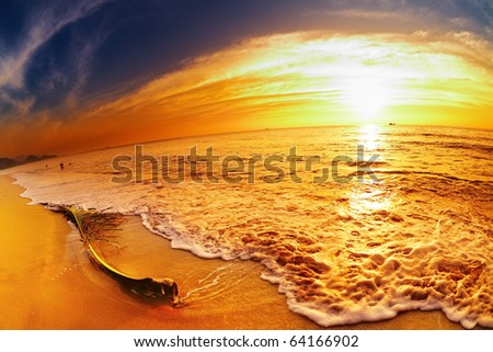 Tropical beach at sunset, Chang island, Thailand, fisheye shot - stock photo