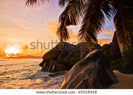 Tropical beach at sunset - nature travel background - stock photo