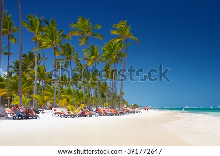 Tropical beach Bavaro at tourist resort in Punta Cana, Dominican Republic - stock photo