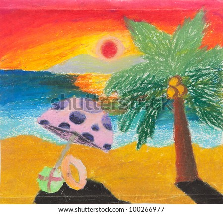 tropical beach chair and coconut at sunset free hand drawing from color crayon techniques from young artist illustrated children are learning kind - stock photo