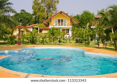 Tropical beach house on the island Koh Mak, Thailand - stock photo