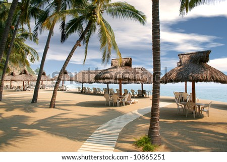 tropical beach huts lined up under palm trees - stock photo