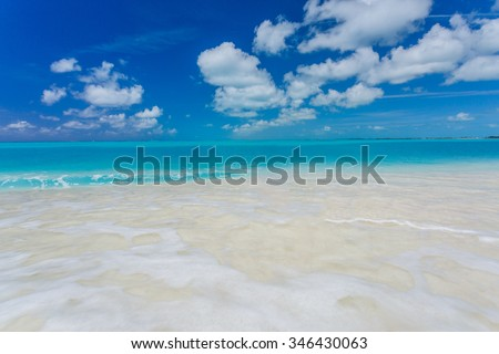 Tropical beach in Cayo Largo Paraiso beach. Cuba - stock photo