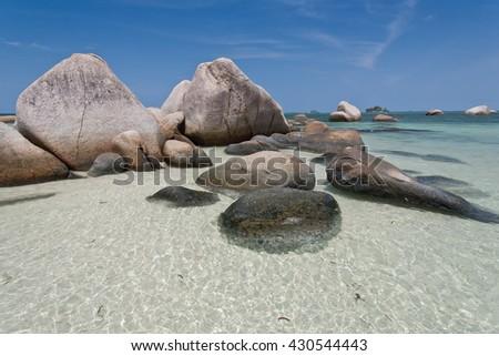 Tropical beach in Indonesia, Bintan. - stock photo