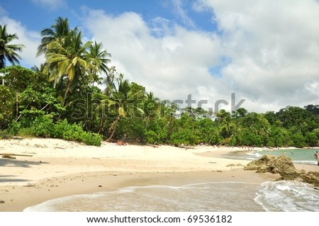 Tropical beach in Manuel Antonio National Park in Costa Rica - stock photo