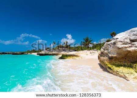 Tropical beach in Mexico - stock photo