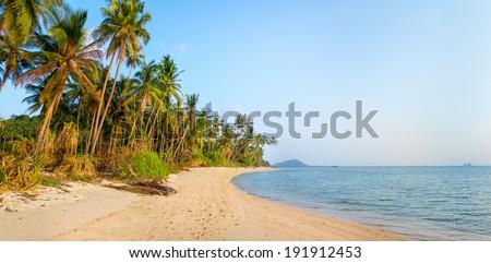 Tropical beach in Samui, Thailand - stock photo