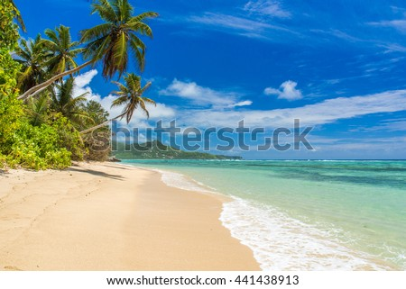 Tropical beach in Seychelles, Mahe - stock photo