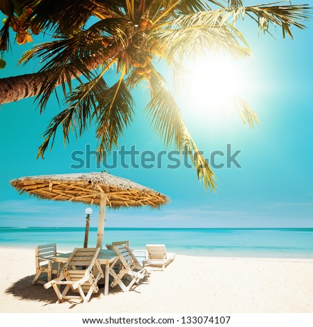 Tropical beach in sunny day. Square composition. - stock photo
