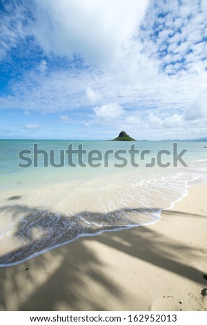 Tropical beach - Kualoa, Oahu, Hawaii -2 - stock photo