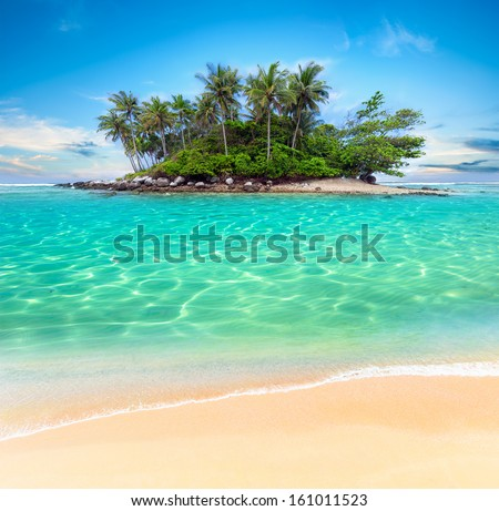 Tropical beach lagoon with palm trees. Thailand tourism panorama of island and ocean horizon  - stock photo