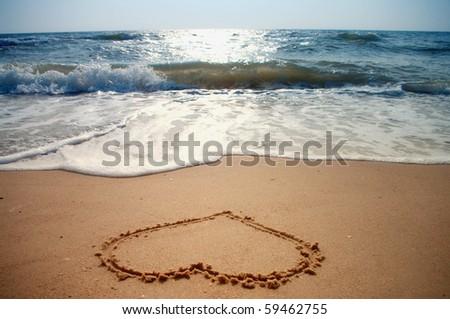 Tropical beach - Love sign - stock photo