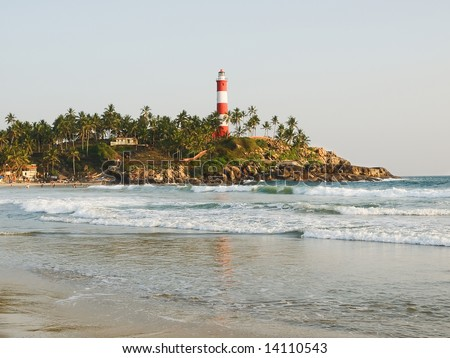 Tropical beach of Kovalam, Kerala, India - stock photo