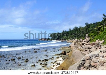 Tropical beach on Seychelles island,La Digue - stock photo